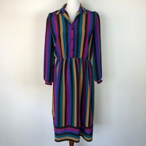 Vintage Size 12 Long Sleeve Shirt Dress Stripped